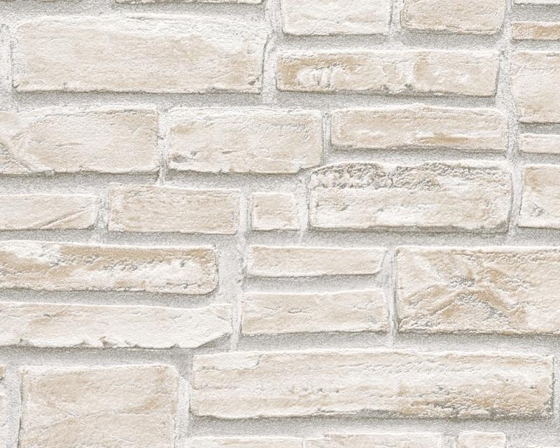 6621-25 Decora natur 5 behang baksteen strip wit creme