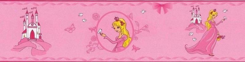 Noordwand Les Aventures 12104003 prinsessen behangrand met kasteel roze