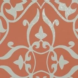 BN Wallcoverings Glamorous 46730 barok vlies rood zilver grijs
