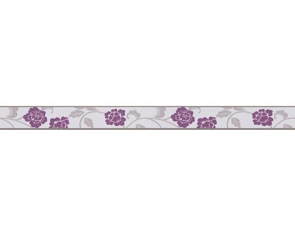 behangrand smal paars grijs bloemen 28202-6