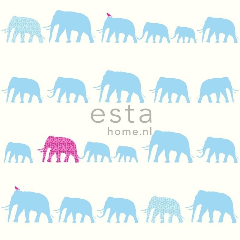 Esta Giggle 137329 blauw roze olifanten behang
