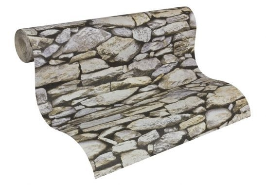 steen behang A.S. Création Dekora Natuur 6 Beige, Grijs, Zwart