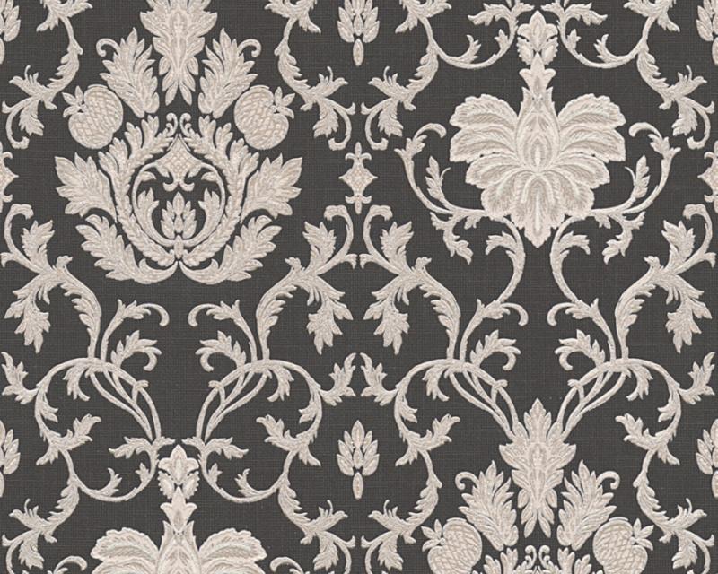Glitter Behang zwart barok 33905-8
