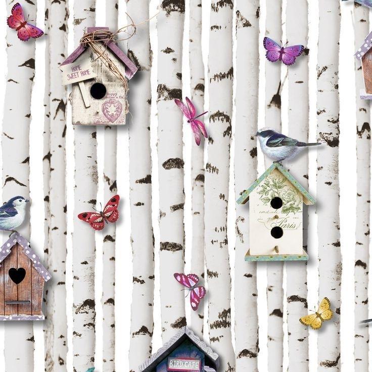 Muriva behang 102549 Bird Boxes Multi