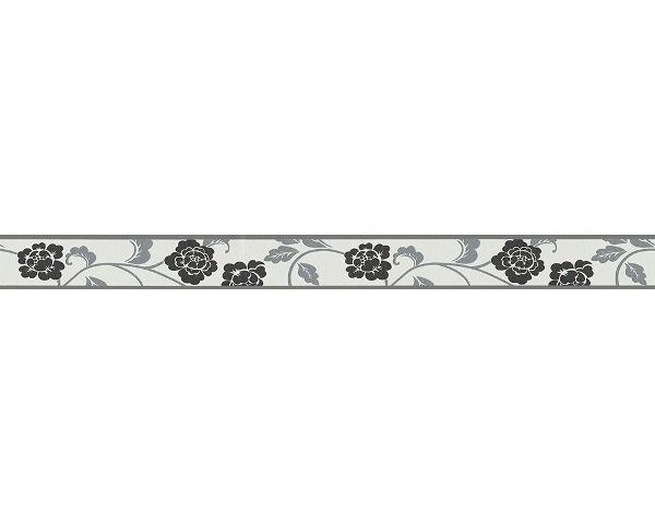 behangrand smal zwart grijs bloemen