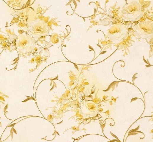 Romantica bloemen behang beige groen AS 30420-6