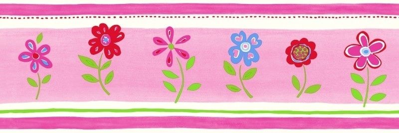 Esta Giggle 177303 behangrand roze rood blauw groen bloemen