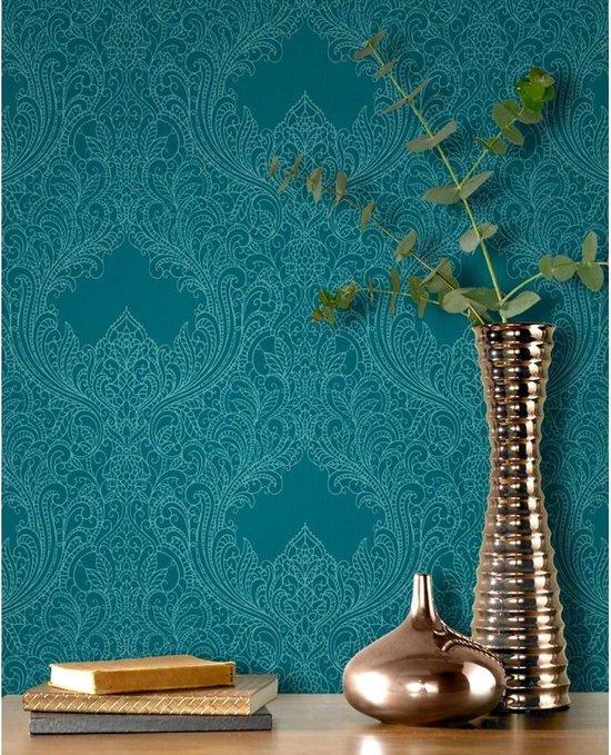 Barok behang blauw met glitter 308518