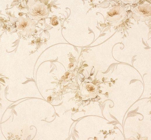 Romantica bloemen behang beige groen AS 30420-4