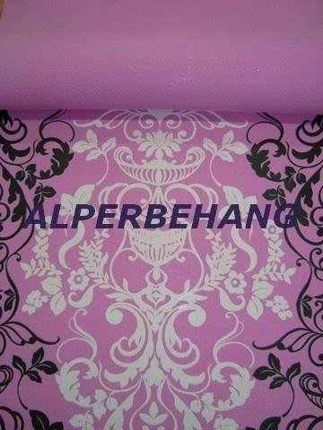 barok behang roze zwart wit x275