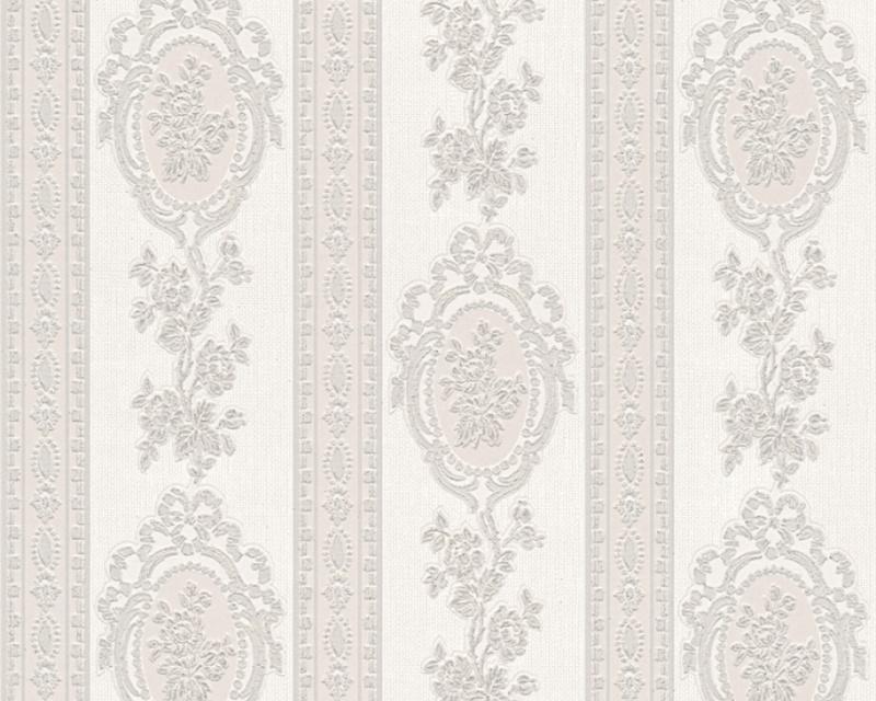 Grijs wit behang met glitter 18615-7