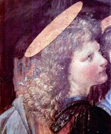 Schilderijbehang - Da Vinci - The Baptism of Christ