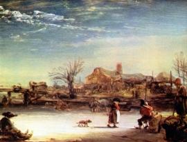 Schilderijbehang - Rembrandt - Winterlandschap