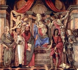 Schilderijbehang Botticelli - Madonna throne of Angels and Saints