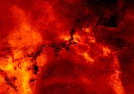 Fotobehang - Kosmos - Sterrenclusters oranje/rood - Star clusters orange/red
