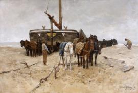 Schilderijbehang - Anton Mauve - Bomschuit op het strand