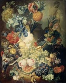 Schilderijbehang  met Stilleven - Stilleven met Bloemen, Vruchten en Gevolgelte