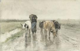 Schilderijbehang - Mauve - Een boerin met koeien op een landweg