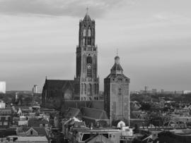 Fotobehang - Zwart wit - Buurkerk en Domtoren Utrecht