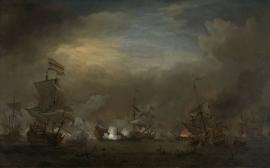 Schilderijbehang  Willem v.d. Velde II - Gevecht tijdens de Zeeslag bij Kijkduin