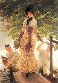 Schilderijbehang -Tissot - On the Thames