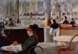Schilderijbehang - Manet - In Cafe