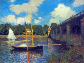 Schilderijbehang - Monet - The road bridge, Argenteuil