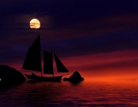 Fotobehang - Zee & Strand - Boot in Maanlicht - Boat by Moonlight