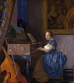 Schilderijbehang - Vermeer - Klavecimbelspeelster