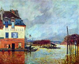 Schilderijbehang - Sisley - Vloed - Flood at Port Manley