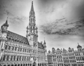 Fotobehang - Zwart wit - Brussel - Grote Markt