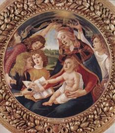 Schilderijbehang Botticelli - Madonna the Magnificent