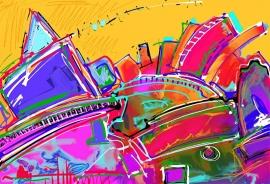 Schilderijbehang  met Abstracte Kunst - Zonder titel nr. 10