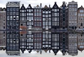 Fotobehang - Amsterdamse grachten - Amsterdam houses