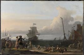 Schilderijbehang  Ludolf Backhuysen - Nederlandse Schepen op de Rede van Texel