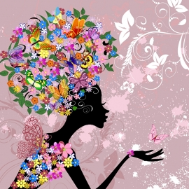 Fotobehang Kinderkamer - Bloemendame met Vlinders - Flowerlady with Butterflies