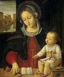 Schilderijbehang  met Religieuze Kunst -Madonna met Kind