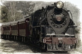 Fotobehang - Zwart-Wit - Locomotief- Locomotive