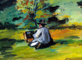 Schilderijbehang - Cézanne - Painter at work