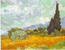 Schilderijbehang - Van Gogh - Cornfield with Cyprusses