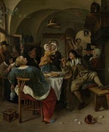 Schilderijbehang  Jan Steen - Familietafereel
