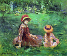 Schilderijbehang - Morisot - In the garden at Maurecourt