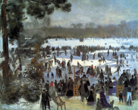 Schilderijbehang - Renoir - Skating runners in the Bois de Bologne