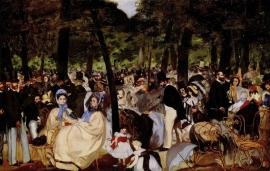 Schilderijbehang - Manet - Music in Tuilerie Garden