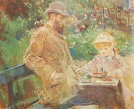 Schilderijbehang - Morisot - Eugene Manet and his daughter