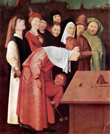 Schilderijbehang - Jeroen Bosch - The Magician ( detail )
