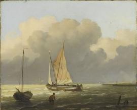 Schilderijbehang  Ludolf Backhuysen - Kustgezicht met Tjalk