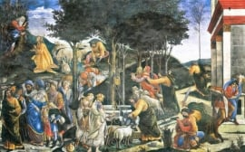 Schilderijbehang Botticelli - The flight of Moses