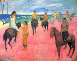 Schilderijbehang - Gauguin - Riders on the beach II