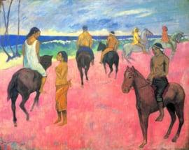 Schilderijbehang - Gauguin - Riders on the beach II
